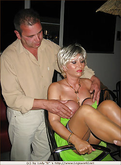 Hot cougar enjoys humiliating and foot dominating sissy dudes