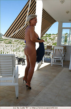 Sexy older slut strips and shows hot feet in patio